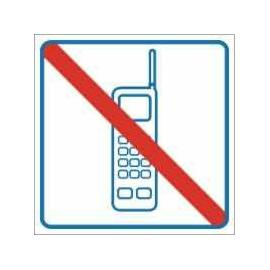 Znak Zakaz używania telefonów komórkowych 100x100 PB