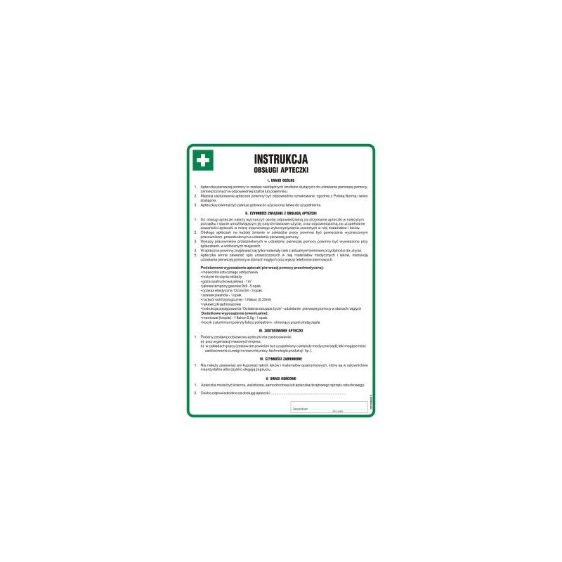 Instrukcja BHP obsługi apteczki