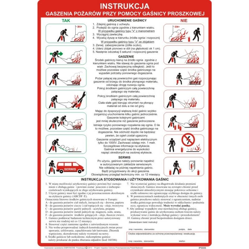 Instrukcja PPOŻ. gaszenia gaśnica proszkową pożarów