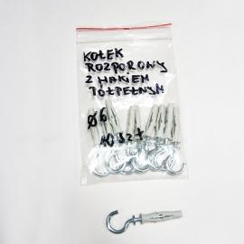 Kołki rozporowe z hakiem połpełnym fi6 - 10 sztuk