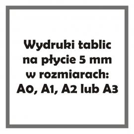 Wydruki tablic na płycie 5 mm w rozmiarze A0, A1, A2 lub A3