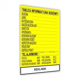 Znak Tablica informacyjna 900x700 plandeka REKLAMA