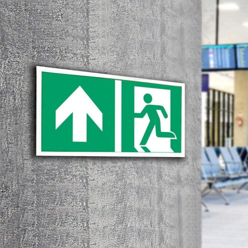 Znak LEVI Kierunek do wyjścia ewakuacyjnego E01-GG 300x150 PF