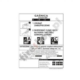 Etykieta gaśnicy GP-1z BC WSP