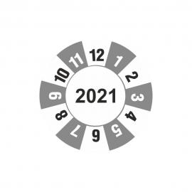 Etykieta kontrolka kółko z datą 2021 folia