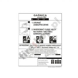 Etykieta gaśnicy GP- 1z BC BP 1KM