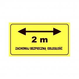 Etykieta naklejka ZACHOWAJ BEZPIECZNĄ ODLEGŁOŚĆ (strzałka) 2 m