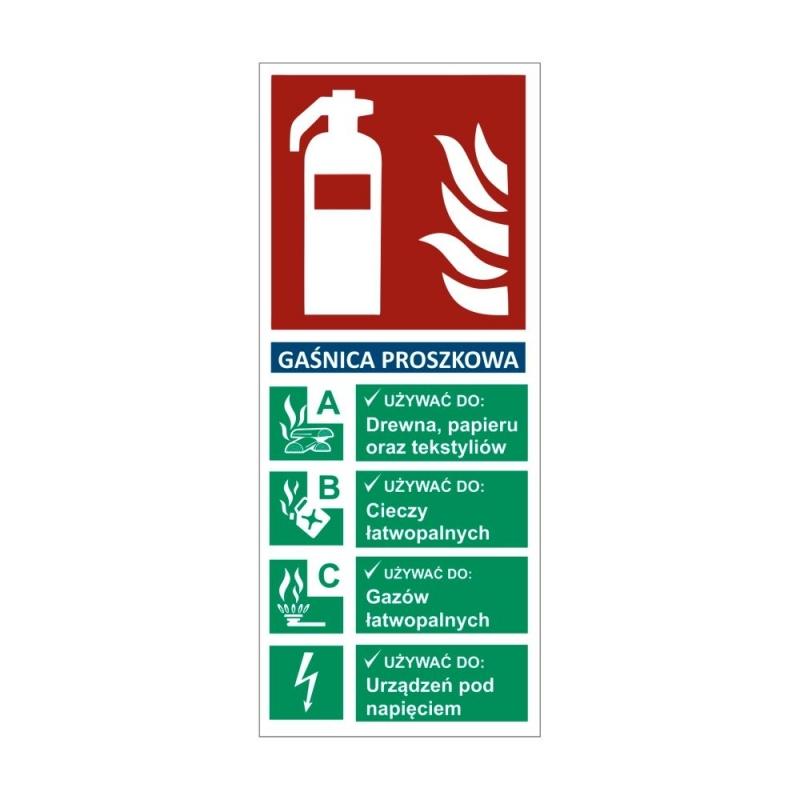 Znak Gaśnica proszkowa z opisem 67x160mm folia