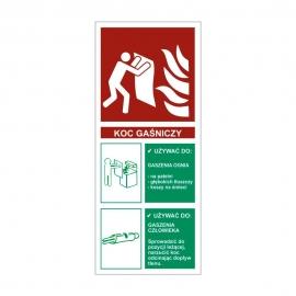 Znak Koc gasniczy z opisem 67x160mm folia