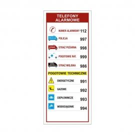 Znak Telefony alarmowe 67x160mm folia