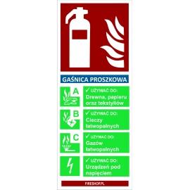 Znak Gaśnica proszkowa z opisem 67x160mm do stojaka