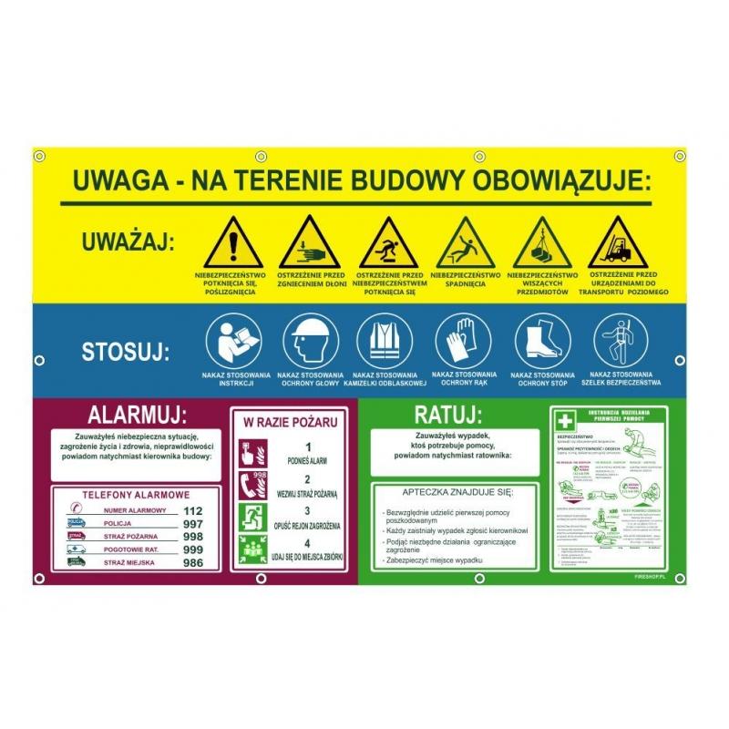 Tablica informacyjna UWAGA baner zwijany USAR