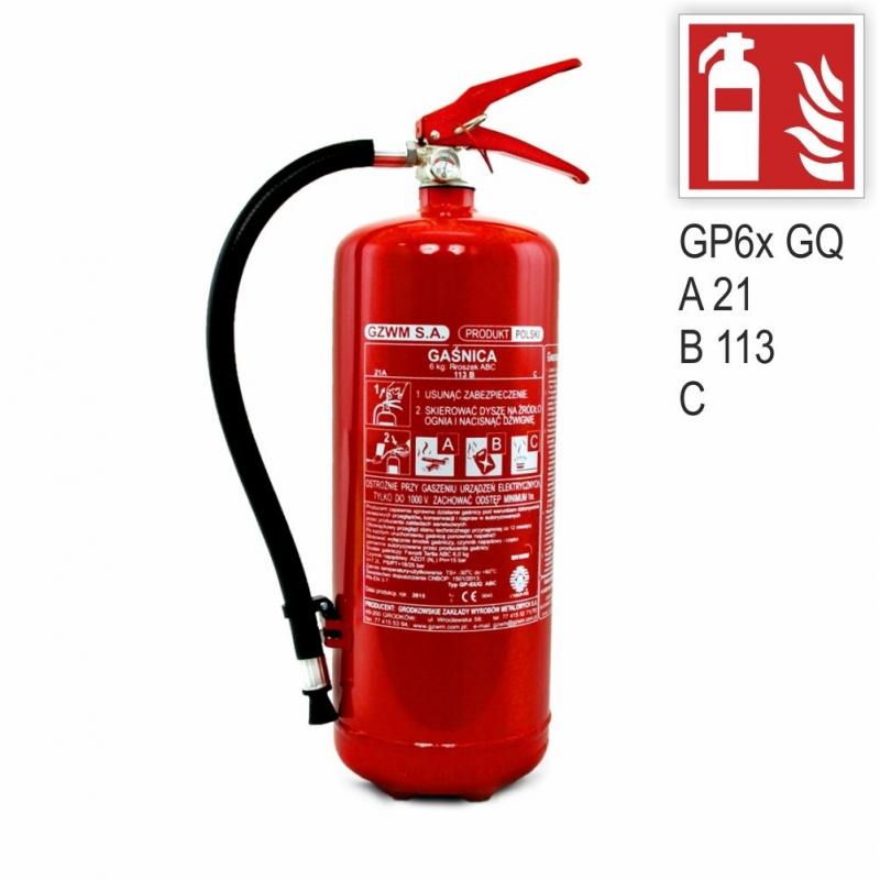 Zestaw Gaśnica GP-6x ABC GZWM + znak ISO