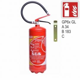 Zestaw Gaśnica proszkowa GP- 6x ABC GL + znak F01