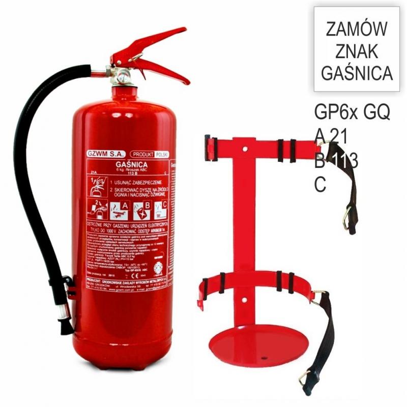 Zestaw Gaśnica proszkowa GP- 6x ABC/GQ + wieszak do KOMBAJNU