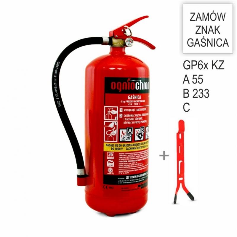 Zestaw Gaśnica GP-6x ABC KZWM + wieszak