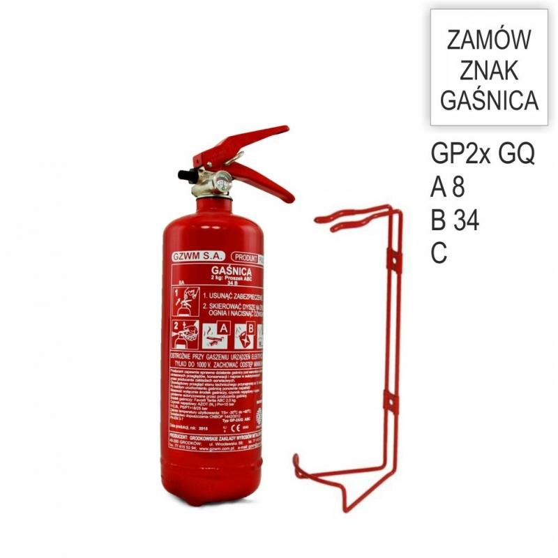 Zestaw Gaśnica GP-2x ABC GZWM + wieszak