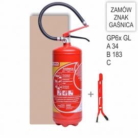 Zestaw Gaśnica proszkowa GP- 6x ABC GL + wieszak