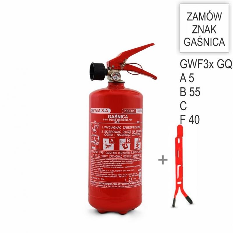 Zestaw Gaśnica płynowa 3x ABF GZWM + wieszak