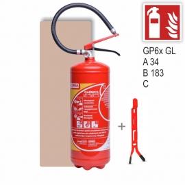 Zestaw Gaśnica proszkowa GP- 6x ABC GL + wieszak + znak