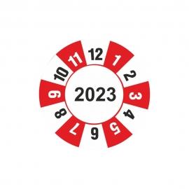 Etykieta kontrolka kółko z datą 2023 folia