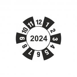 Etykieta kontrolka kółko z datą 2024 folia
